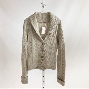 Free People 'Ivory Heat' Cable Knit Cardigan